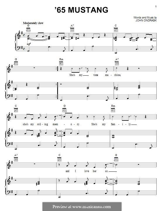 '65 Mustang (Five for Fighting): Für Stimme und Klavier (oder Gitarre) by John Ondrasik