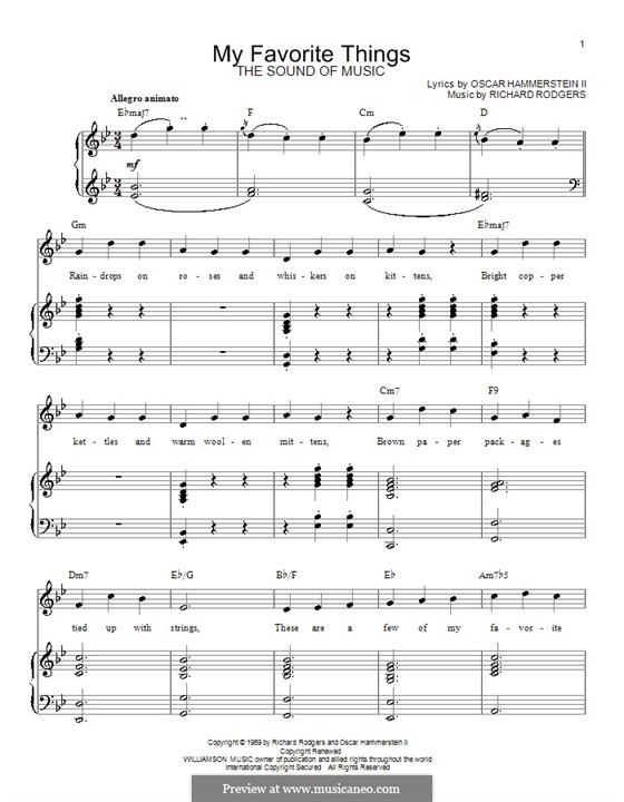 My Favorite Things (from The Sound of Music): Für Stimme und Klavier oder Gitarre (Noten von hohem Qualität) by Richard Rodgers