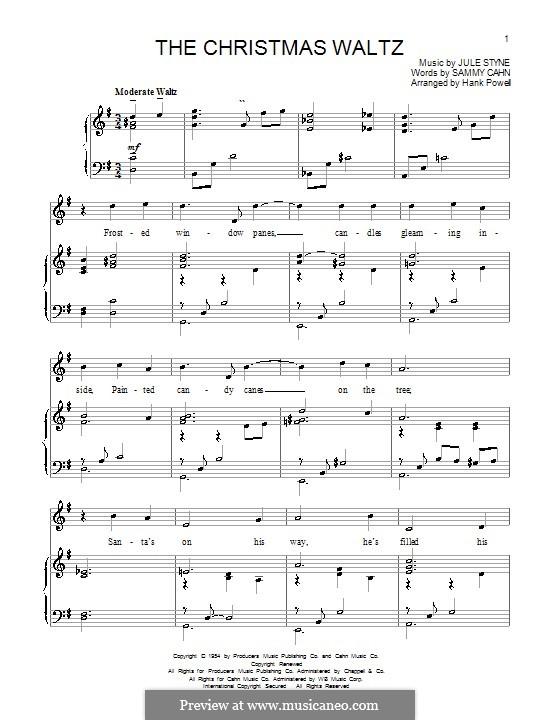 The Christmas Waltz: Für Stimme und Klavier (oder Gitarre) by Jule Styne