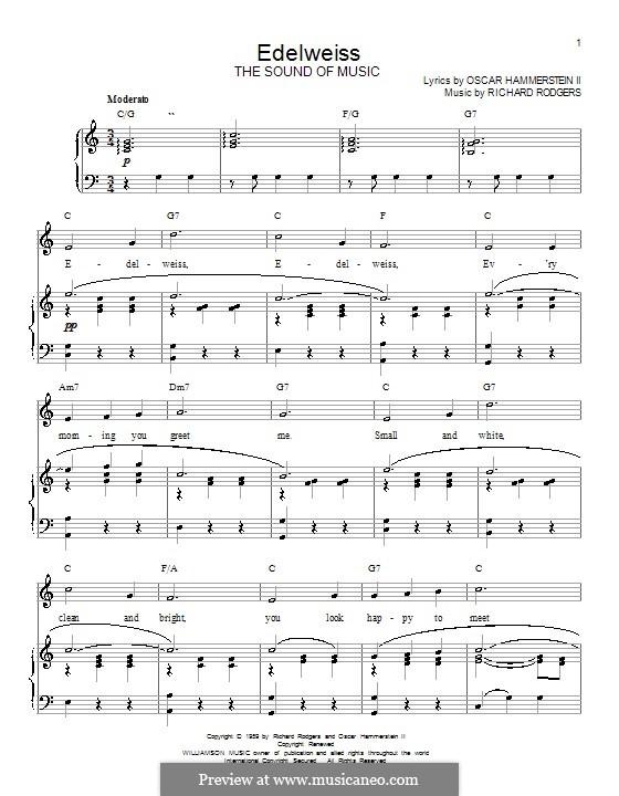 Edelweiss (from The Sound of Music): Für Stimme und Klavier oder Gitarre (C-Dur) by Richard Rodgers