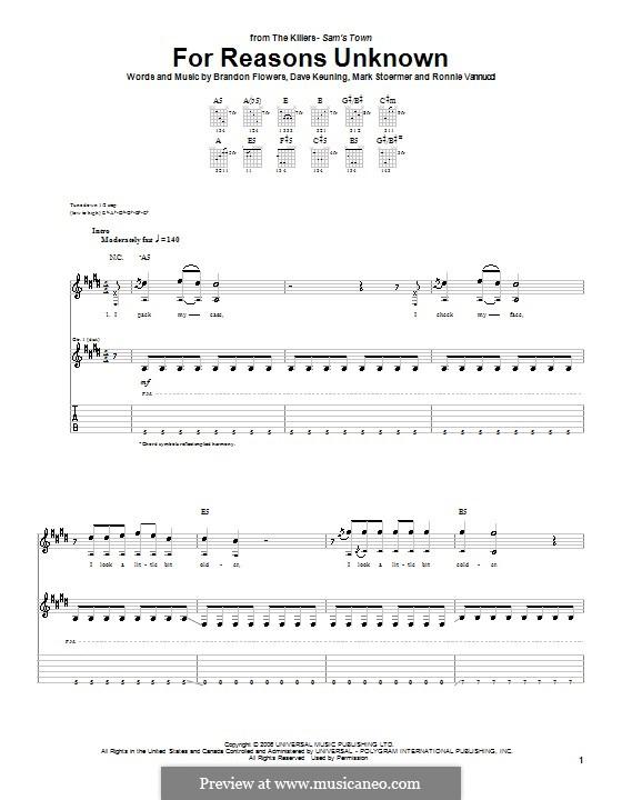 For Reasons Unknown (The Killers): Für Gitarre mit Tabulatur by Brandon Flowers, Dave Keuning, Mark Stoermer, Ronnie Vannucci