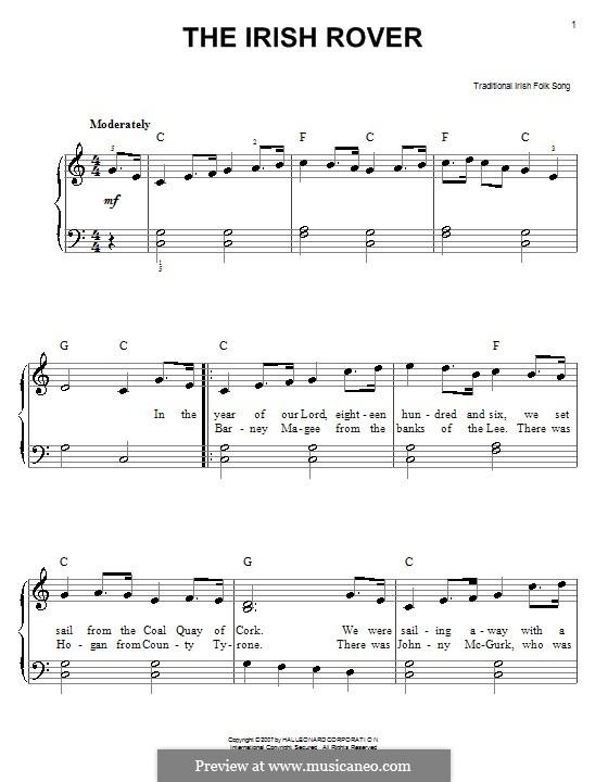 The Irish Rover: Für Klavier, leicht by folklore