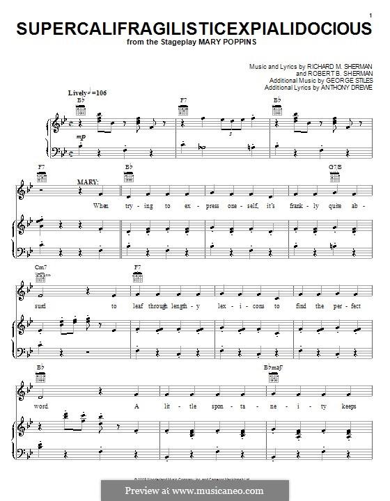 Supercalifragilisticexpialidocious (from Mary Poppins): Für Stimme mit Klavier oder Gitarre (Julie Andrews) by Richard M. Sherman, Robert B. Sherman