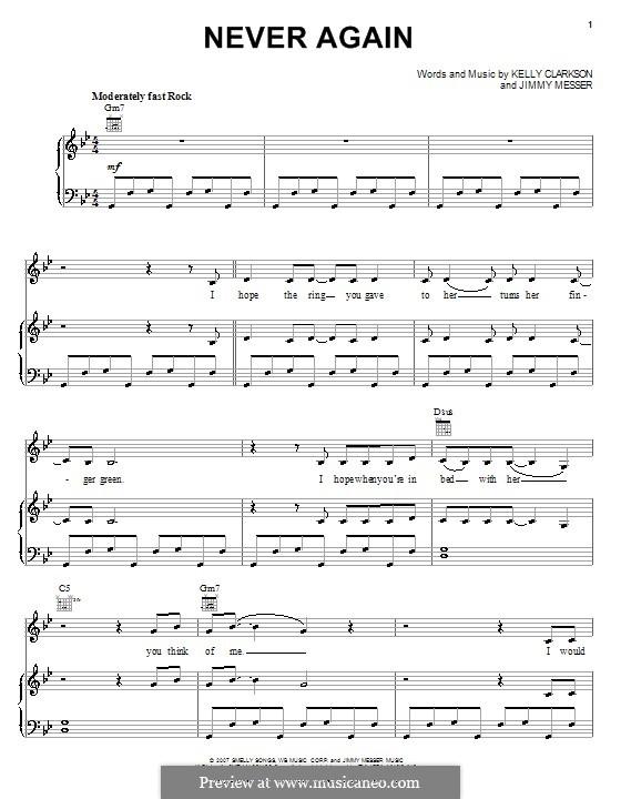 Never Again (Kelly Clarkson): Für Stimme und Klavier (oder Gitarre) by Jimmy Messer