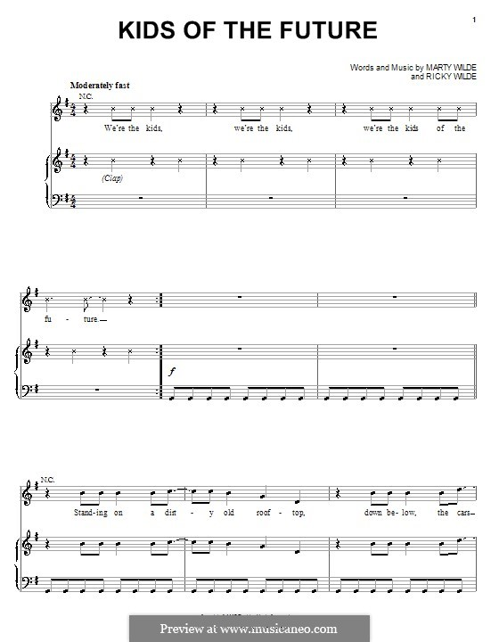 Kids of the Future (Jonas Brothers): Für Stimme und Klavier (oder Gitarre) by Marty Wilde, Ricky Wilde