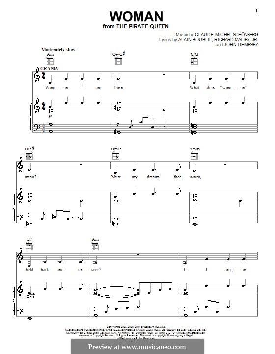 Woman: Für Stimme und Klavier (oder Gitarre) by Claude-Michel Schönberg