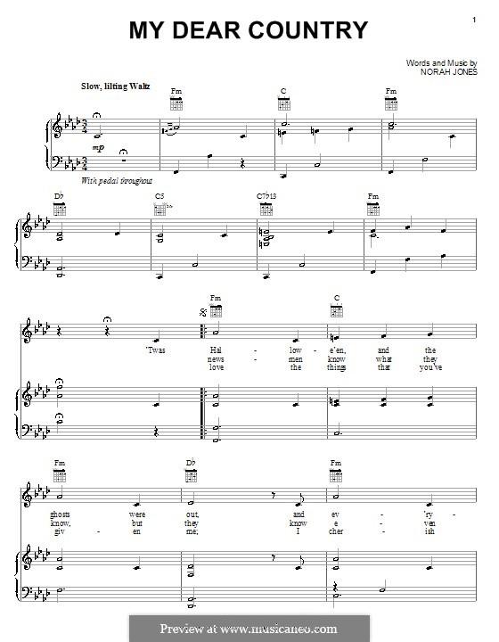My Dear Country: Für Stimme und Klavier (oder Gitarre) by Norah Jones