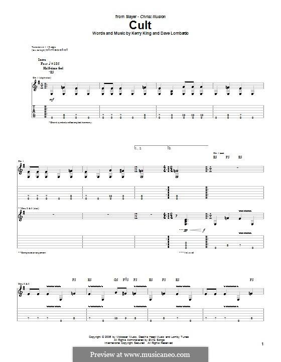 Cult (Slayer): Für Gitarre mit Tabulatur by Dave Lombardo, Kerry King