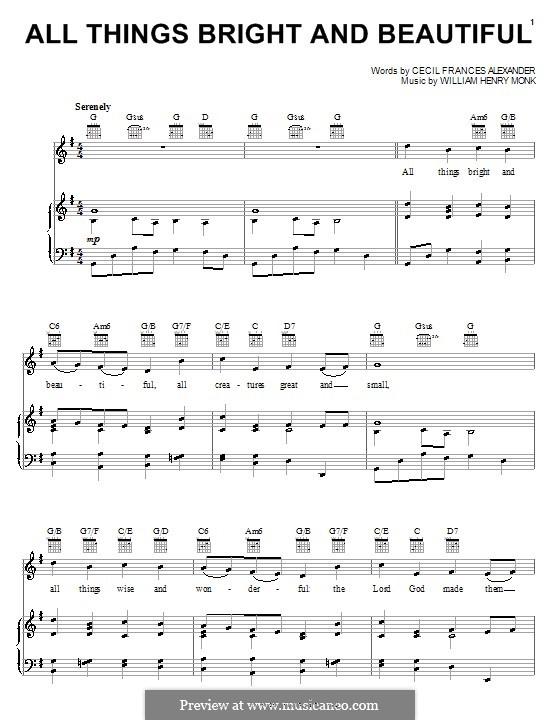 All Things Bright and Beautiful: Für Stimme und Klavier (oder Gitarre) by William Henry Monk