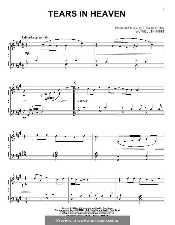 Tears in Heaven: Für Klavier by Eric Clapton, Will Jennings