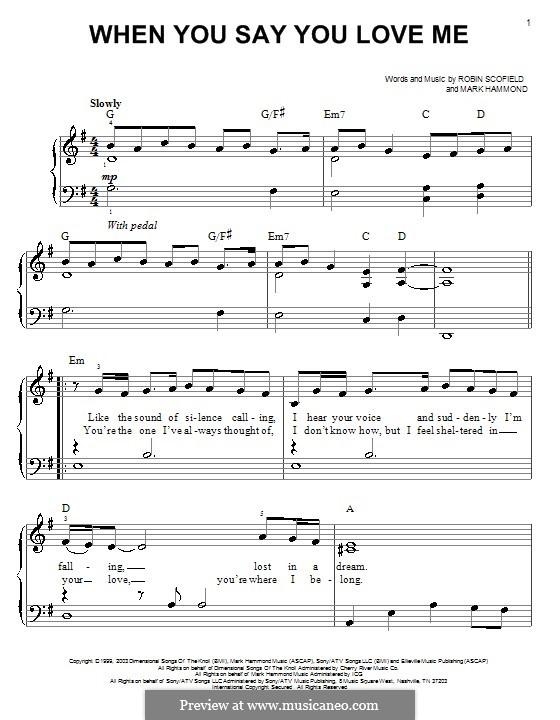 When You Say You Love Me (Josh Groban): Für Klavier by Mark Hammond, Robin Scoffield