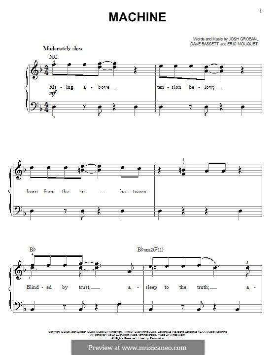 Machine: Für Klavier, leicht by Dave Bassett, Eric Mouquet
