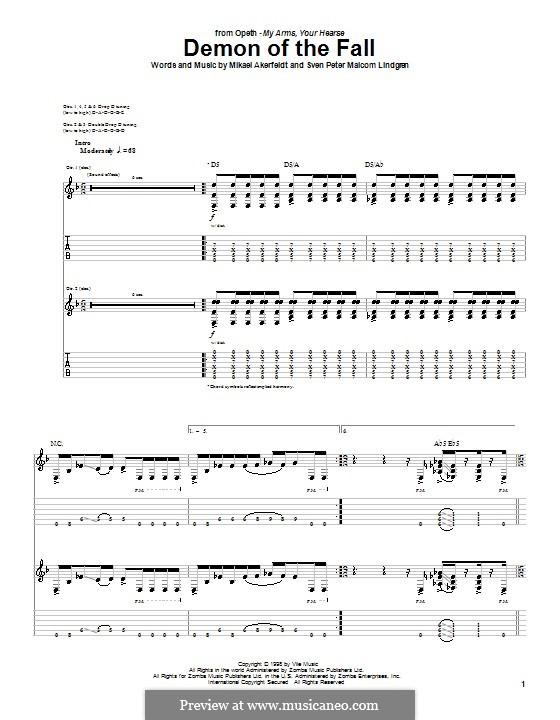 Demon of the Fall (Opeth): Für Gitarre mit Tab by Mikael Akerfeldt, Sven Peter Malcom Lindgren
