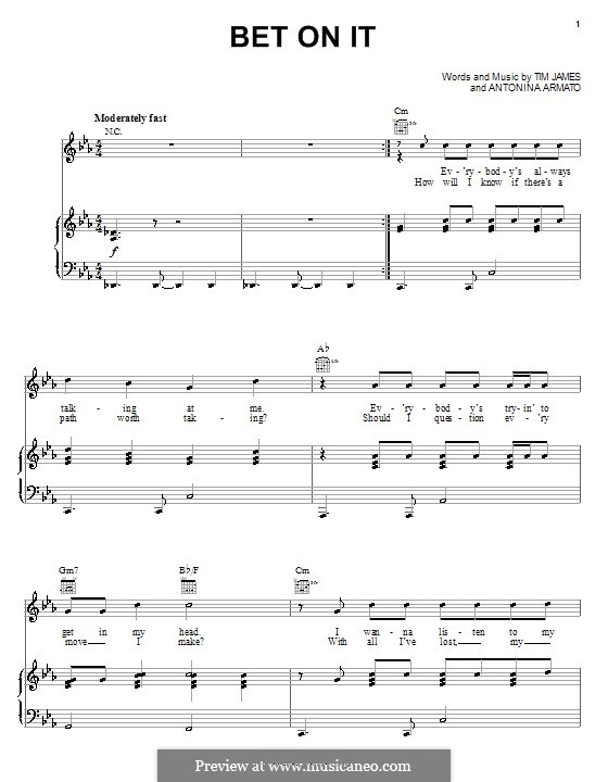 Bet on It (High School Musical 2): Für Stimme und Klavier (oder Gitarre) by Antonina Armato, Timothy James