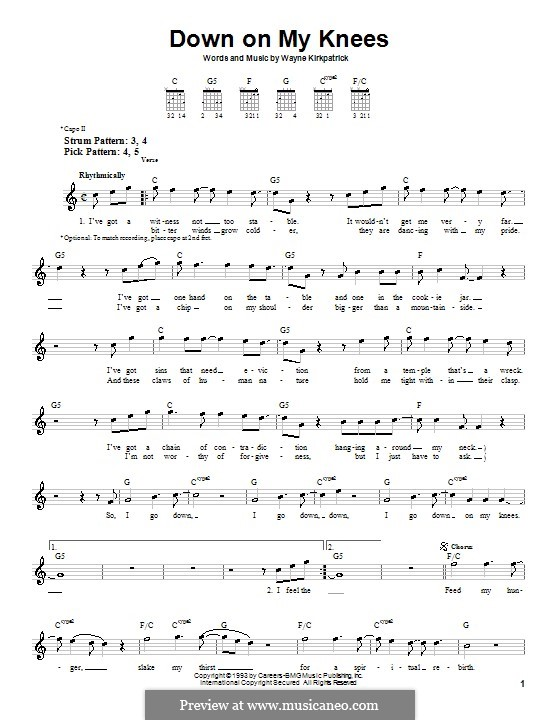 Down On My Knees: Für Gitarre (Sehr leichte Fassung) by Wayne Kirkpatrick