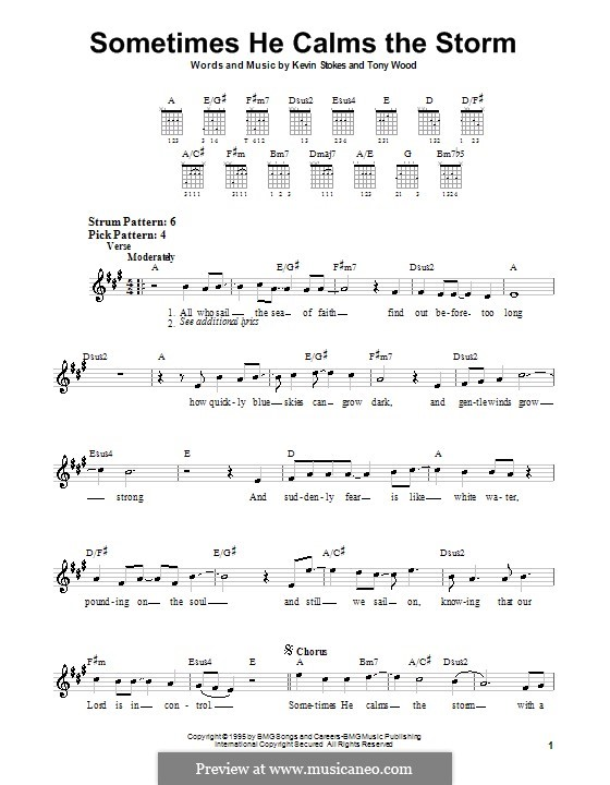 Sometimes He Calms the Storm: Für Gitarre (Sehr leichte Fassung) by Kevin Stokes, Tony Wood