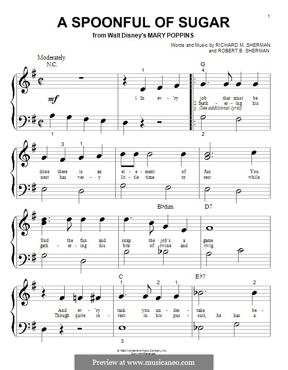 A Spoonful of Sugar: Für Klavier (sehr leichte Fassung) by Richard M. Sherman, Robert B. Sherman
