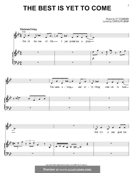The Best is Yet to Come: Für Stimme und Klavier (oder Gitarre) by Cy Coleman