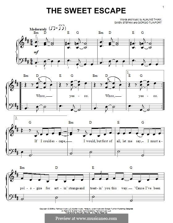 The Sweet Escape (Gwen Stefani featuring Akon): Einfache Noten für Klavier by Aliaune Thiam, Giorgio Tuinfort