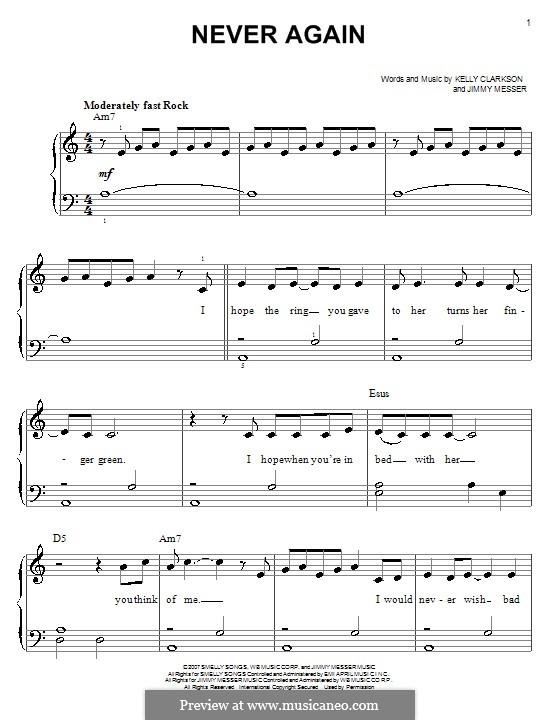 Never Again (Kelly Clarkson): Einfache Noten für Klavier by Jimmy Messer