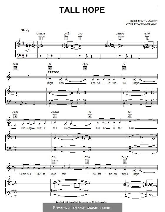 Tall Hope: Für Stimme und Klavier (oder Gitarre) by Cy Coleman