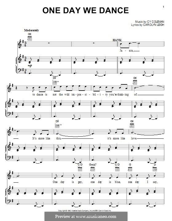 One Day We Dance: Für Stimme und Klavier (oder Gitarre) by Cy Coleman