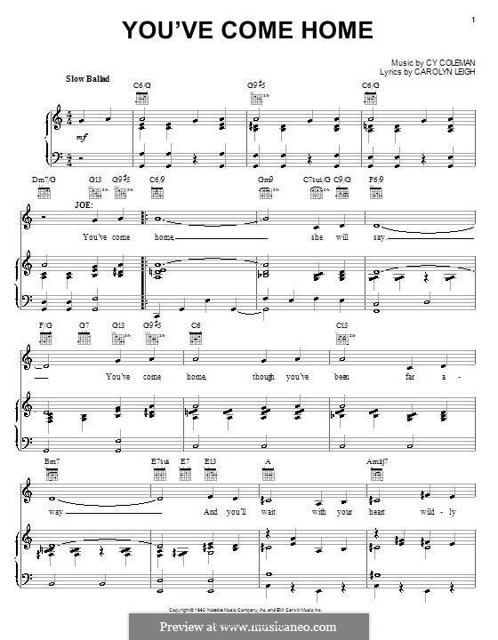 You've Come Home: Für Stimme und Klavier (oder Gitarre) by Cy Coleman