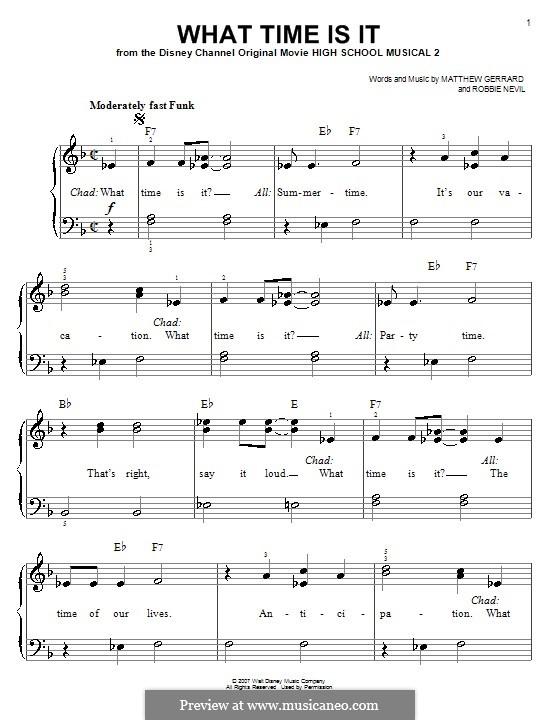 What Time Is It (from High School Musical 2): Für Klavier, leicht by Matthew Gerrard, Robbie Nevil