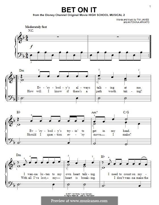 Bet on It (High School Musical 2): Für Klavier, leicht by Antonina Armato, Timothy James