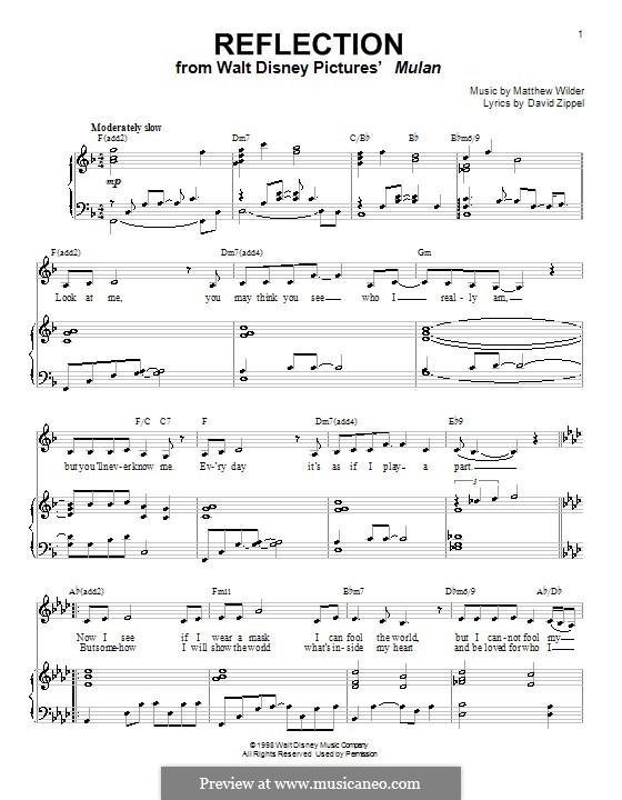 Reflection (from Disney's Mulan): Für Stimme und Klavier (oder Gitarre) by Matthew Wilder
