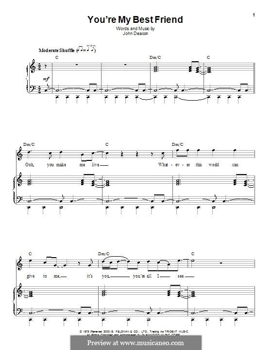 You're My Best Friend (Queen): Für Stimme und Klavier (oder Gitarre) by John Deacon