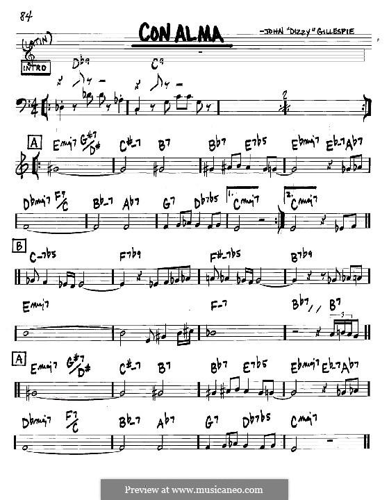 Con Alma: Melodie und Akkorde - Instrumente in C by Dizzy Gillespie