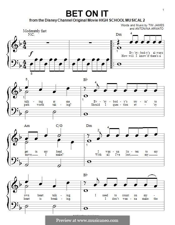 Bet on It (High School Musical 2): Für Klavier (sehr leichte Fassung) by Antonina Armato, Timothy James