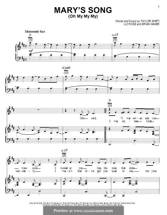 Mary's Song (Oh My My My): For voice and piano or guitar (Taylor Swift) by Brian Maher, Liz Rose