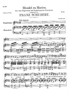 Blondel zu Marien, D.626: Für Stimme und Klavier by Franz Schubert