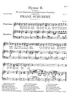 Hymne II für Stimme und Klavier, D.660: B-moll by Franz Schubert