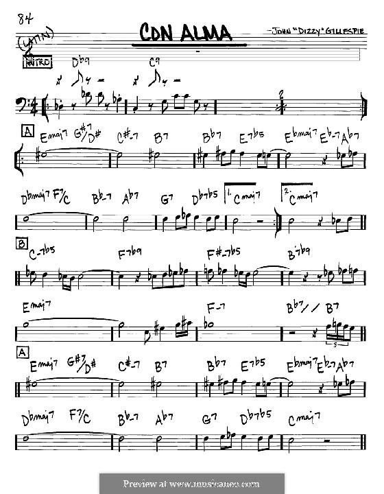 Con Alma: Melodie und Akkorde - Instrumente im Bassschlüssel by Dizzy Gillespie
