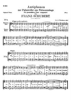 Sechs Antiphonen zur Palmweihe am Palmsonntage, D.696 Op.113: Sechs Antiphonen zur Palmweihe am Palmsonntage by Franz Schubert