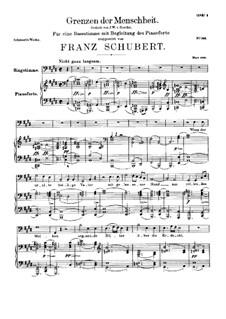 Grenzen der Menschheit, D.716: Für Stimme und Klavier by Franz Schubert