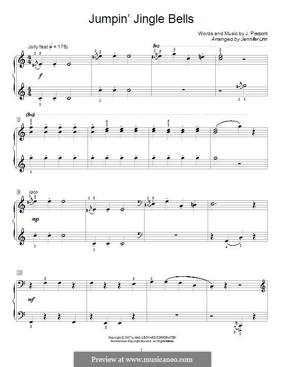 Jingle Bells, für Klavier: C-Dur by James Lord Pierpont