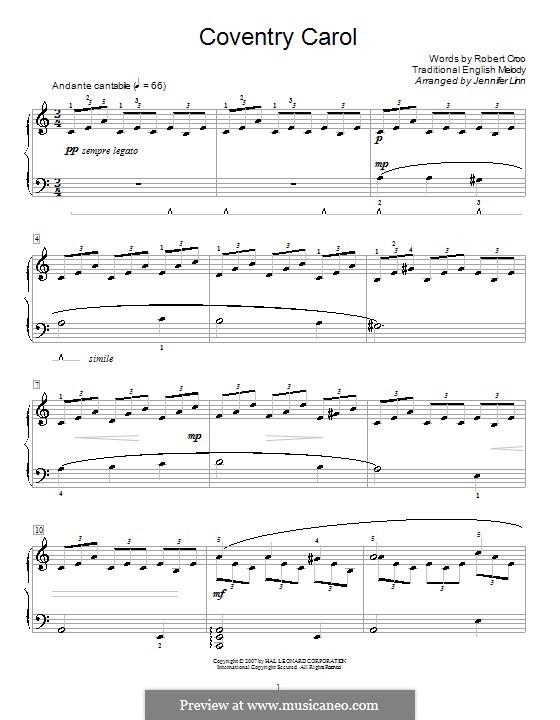 Coventry Carol: Für Klavier (A Minor) by folklore