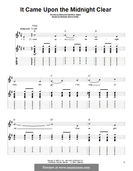 It Came upon the Midnight Clear: Für Gitarre (G Major) by Richard Storrs Willis