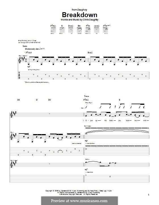 Breakdown (Daughtry): Für Gitarre mit Tabulatur by Chris Daughtry