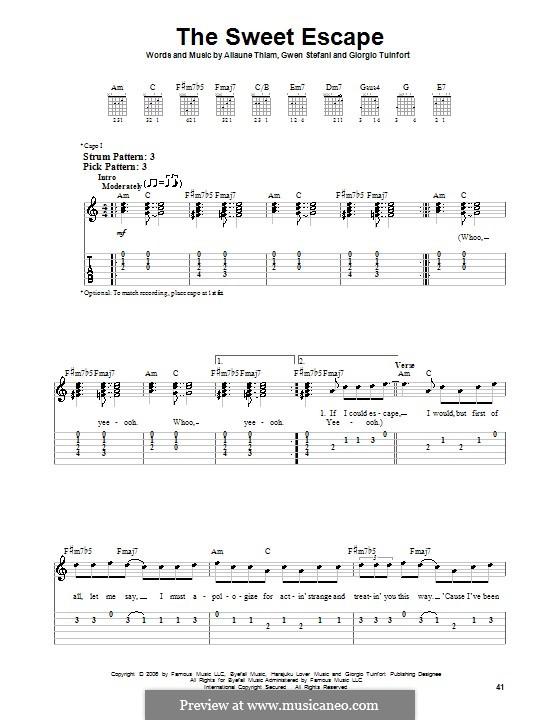 The Sweet Escape (Gwen Stefani featuring Akon): Für Gitarre (Sehr leichte Fassung) by Aliaune Thiam, Giorgio Tuinfort