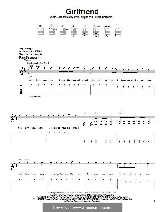Girlfriend (Avril Lavigne): Für Gitarre (Sehr leichte Fassung) by Lukas Gottwald