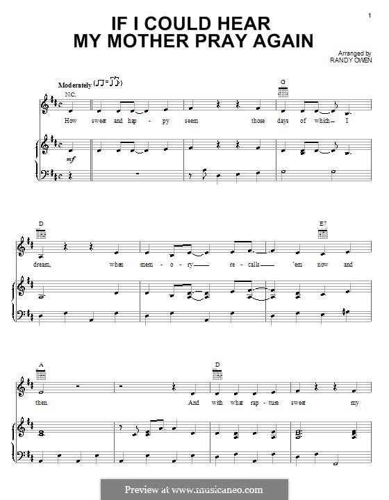 If I Could Hear My Mother Pray Again (Alabama): Für Stimme und Klavier (oder Gitarre) by Randy Owen