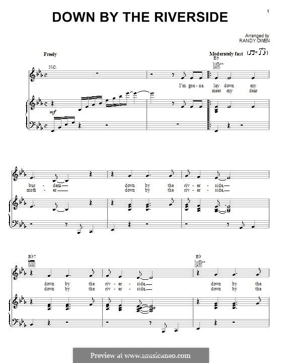 Down By the Riverside (Alabama): Für Stimme und Klavier (oder Gitarre) by Randy Owen
