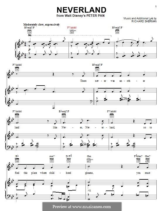 Neverland: Für Stimme und Klavier (oder Gitarre) by Richard M. Sherman