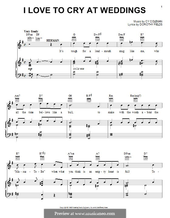I Love to Cry at Weddings: Für Stimme und Klavier (oder Gitarre) by Cy Coleman