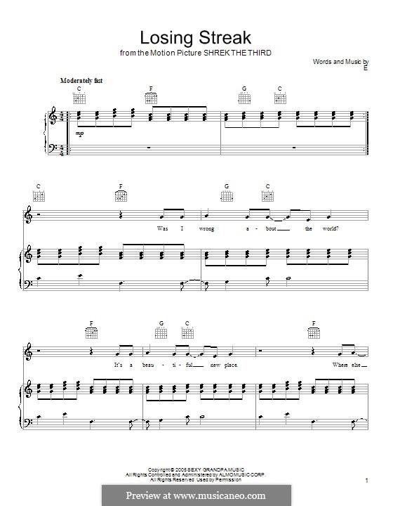 Losing Streak: Für Stimme und Klavier (oder Gitarre) by Eels